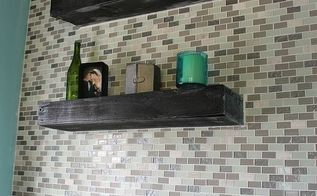 diy glass tile accent wall in master bathroom, bathroom ideas, home decor, tiling, I wanted to add some texture to this bathroom by combining these two pallet wood shelves and glass tile together