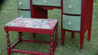 q how to paint with chalk paint, chalk paint, painted furniture, The vintage dressing table turned desk after This was painted using colors to coordinate with my office rug This was my first piece ever using chalk paint and learning to wax