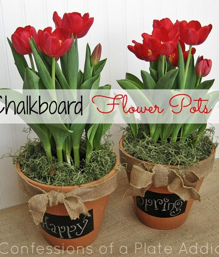 A message on the chalkboard accompanies some pretty flowers!