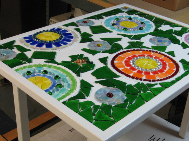 stained glass mosaic patio table, painted furniture, tiling, Glass color can vary by lot just like paint can I learned this the hard way Always mix old and new glass in the same color to avoid odd blocks of color and to avoid having to take up hours of work in order to balance the shades
