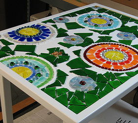 Stained Glass Mosaic Patio Table, Painted Furniture, Tiling, Glass Color  Can Vary By