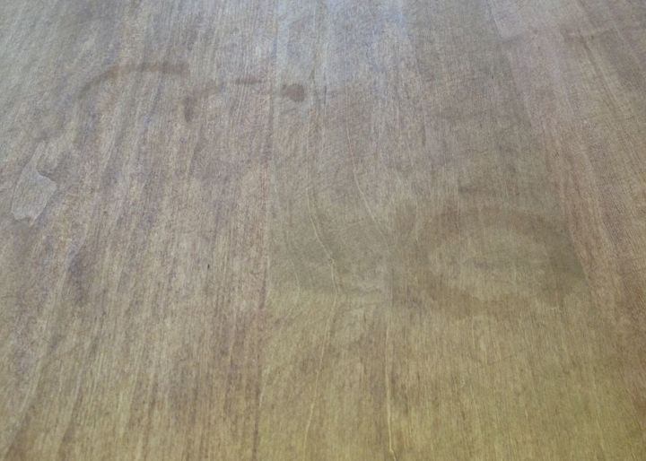 Maple wood with 2 coats of golden oak stain. (prior to sealing with varnish :-( Best advice on removing the water stain?