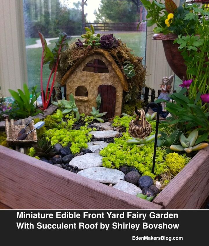 This mini garden features a succulent roof among other details. Can you see a common theme running through this garden? Look closely
