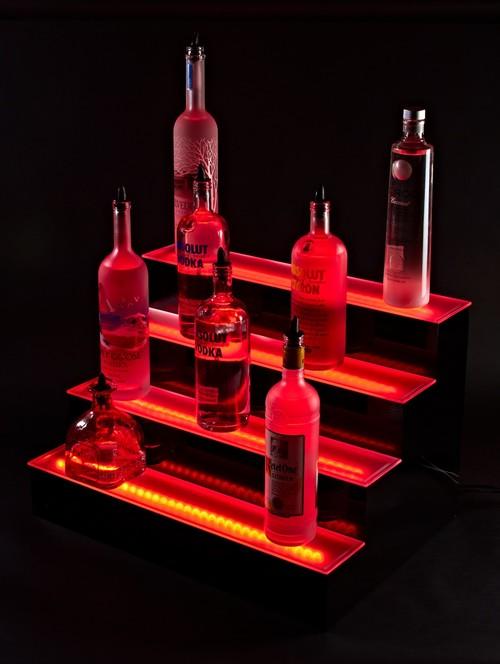 4 tier led lighted liquor bottle display shelf, lighting, shelving ideas, Liquor shelves 2 foot 4 Tier LED Liquor Bottle shelves Display