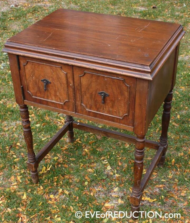 Before photo of 1938 sewing cabinet