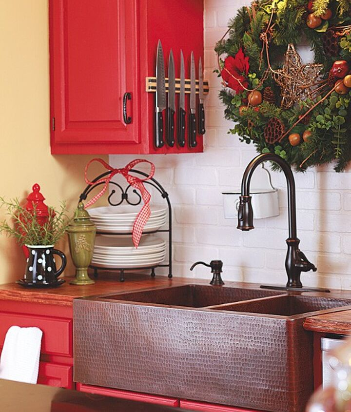 Before - Red Cabinets and Copper Sink