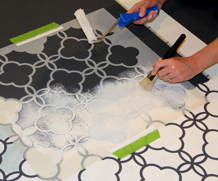 Good preparation of the stencil is essential in getting a clean outline and to minimize seepage. http://www.royaldesignstudio.com/blogs/how-to-stencil/5156302-chalk-paint-stenciled-floor-cloth
