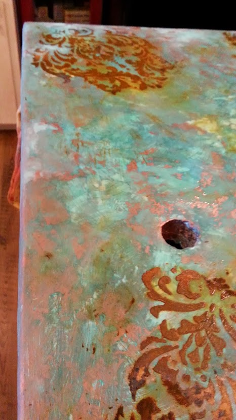 Using Modern Master Metal Effects Paint copper then patina for an old world copper look.