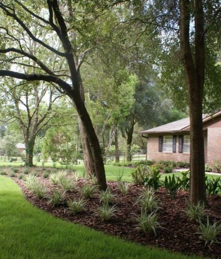 A huge shady island can be designed with minimum trimming and reduced grass space.