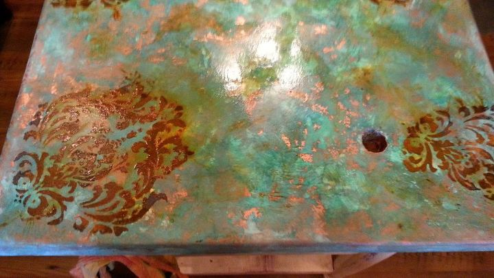 SK then used a damask stencil and painted with Modern Master Metal Effects Paint Iron and rusted.