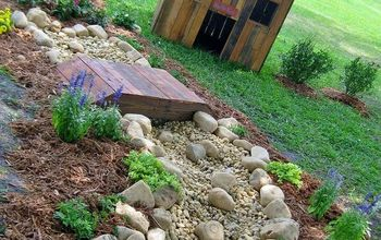 re scape backyard getaway community project, gardening, dry creek bed and pallet dog house