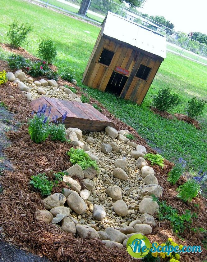 dry creek bed and pallet dog house