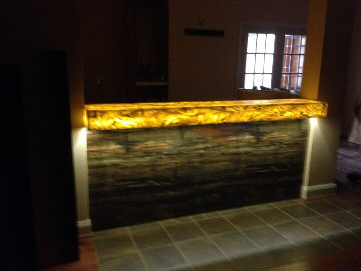 custom bar, entertainment rec rooms, home decor, woodworking projects, The front of the bar features Formica Petrified Wood Laminate and lighted with an led Lighted Corian countertop