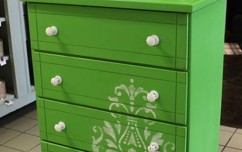 Adding Color and a Stencil to Wake up a Boring Piece of Furniture