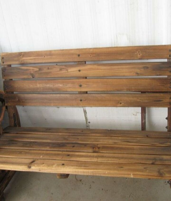 Our wagon wheel bench