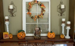 thrifty fall decorating ideas and home tour, seasonal holiday d cor, Window vignette that was either yard sale or free