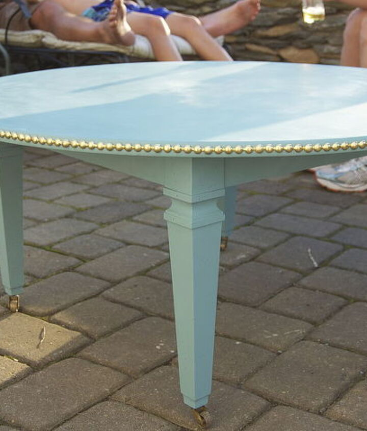 Finished table complete with brass nail heads and Annie Sloan chalk paint finish.