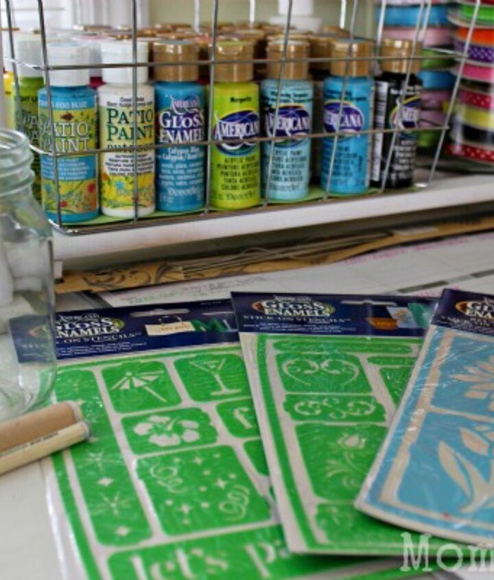 Supplies:  Mason Jars, paints, stencils, daubers.