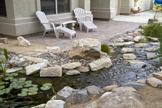 When you're not out on the patio enjoying the view, open the windows to hear the soothing sound of the waterfall.
