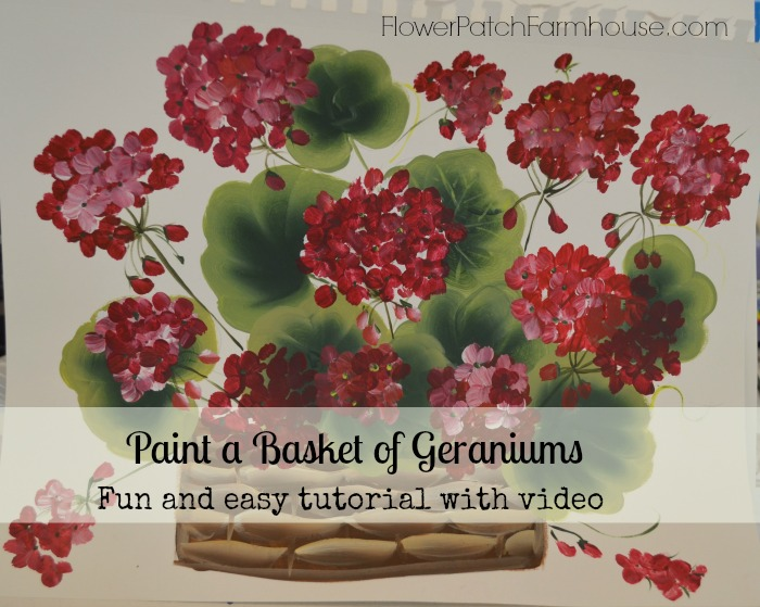 paint a basket of red geraniums pelargoniums, crafts, painting