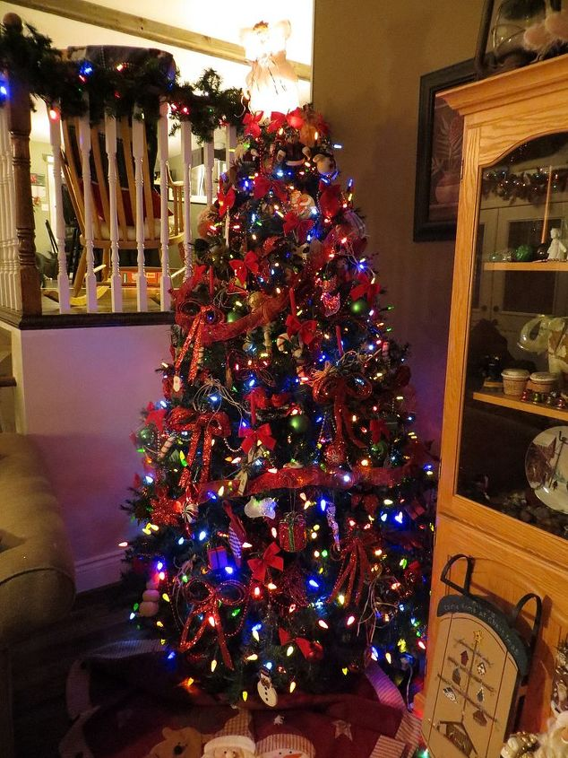 my Christmas tree that I am so fussy about decorating..over 1000 lights alone..takes me 2 days to do.