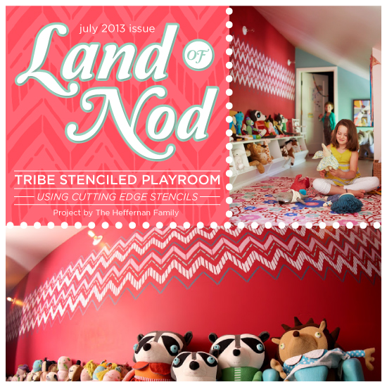 land of the nod tribe stenciled playroom, home decor, painting, wall decor