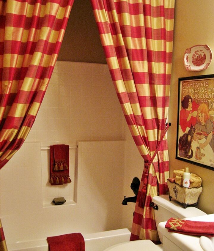 my french country guest bath, bathroom ideas, home decor, A pair of buffalo check drapes serve as the shower curtain backed with a liner of course