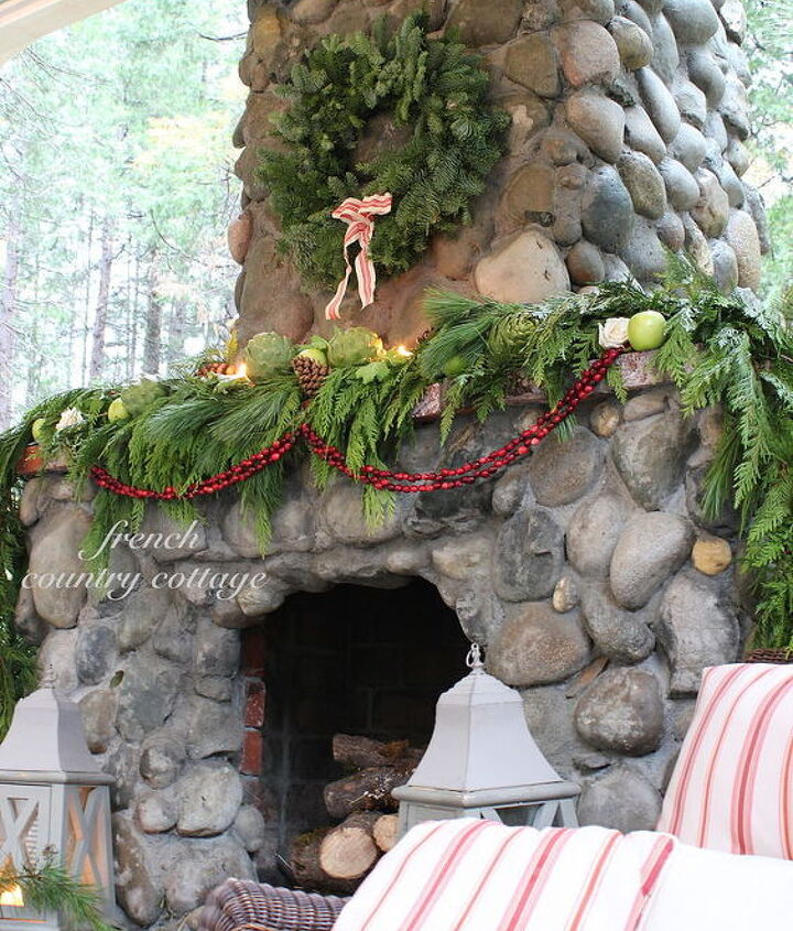 Outdoor Rock Fireplace Dressed For The Holidays Hometalk