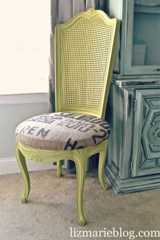 avocado and burlap chair makeover, painted furniture, reupholster