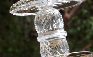 thrifted glass bird feeders, crafts, repurposing upcycling
