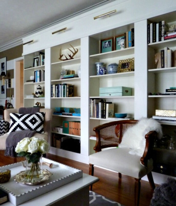 DIY LIbrary Wall using IKEA BILLY bookcases