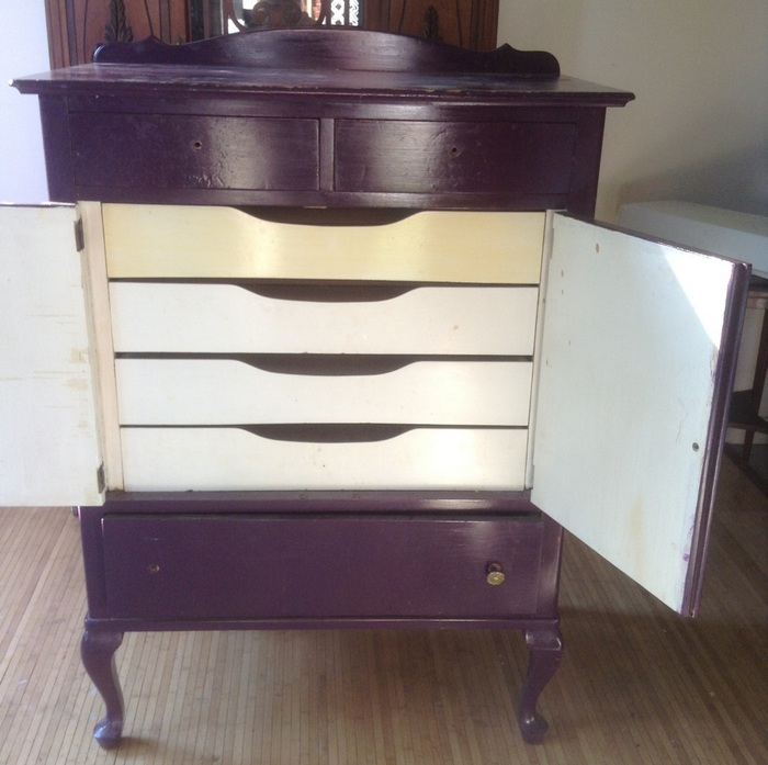 q the dreaded purple cabinet dresser what to do, chalk paint, painted furniture