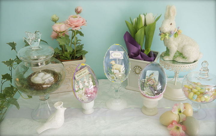 easter accents shadow box faux sugar eggs, easter decorations, repurposing upcycling, seasonal holiday d cor
