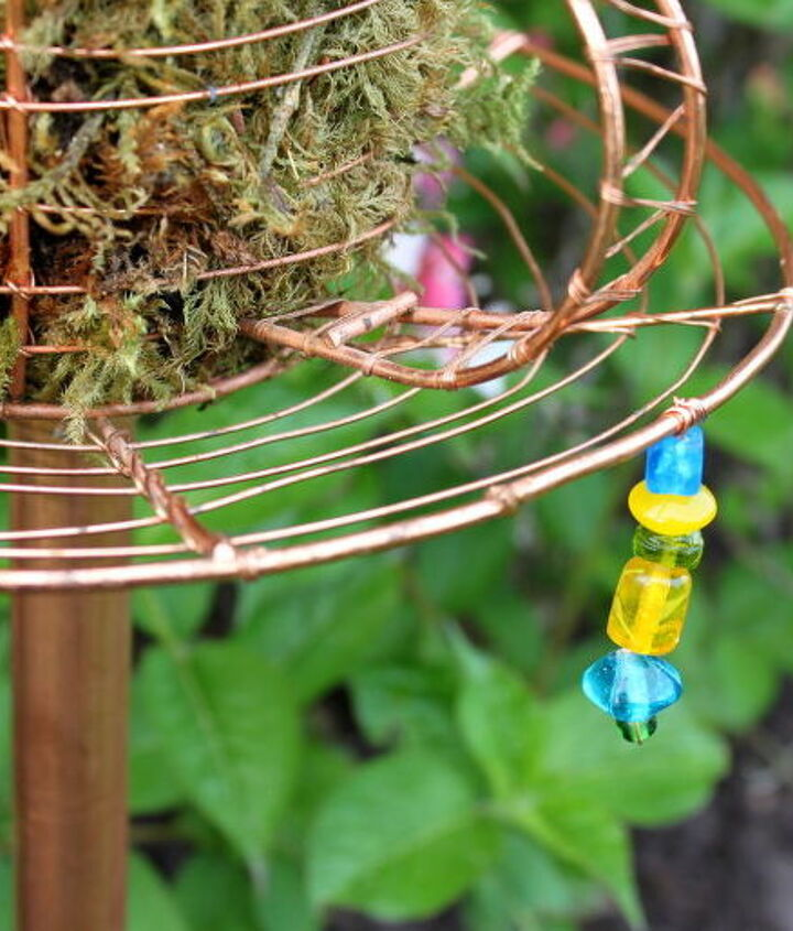 I strung and attached the beads to the teacup with copper beading wire.