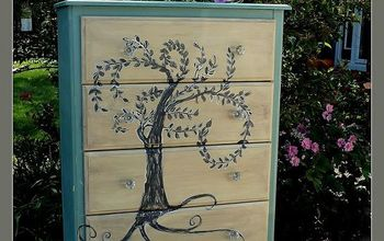 laminate furniture can be beautiful too hand painted willow dresser, painted furniture, the finished Painted Laminate Dresser Hand Painted weeping willow tree dresser