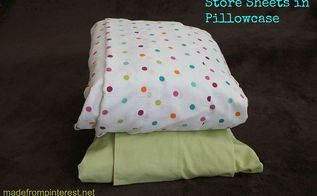 store sheet sets in pillowcases, cleaning tips, organizing, Keep sheets sets organized by sliding into a pillowcase