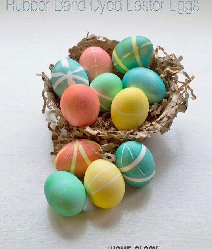 a modern twist to dying easter eggs, crafts, easter decorations, seasonal holiday decor, Create random patterns by attaching rubber bands to your hard boiled eggs before dying