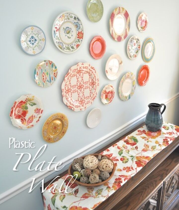 plastic plate wall, home decor, wall decor, Plastic Plates add a pop a color for low cost