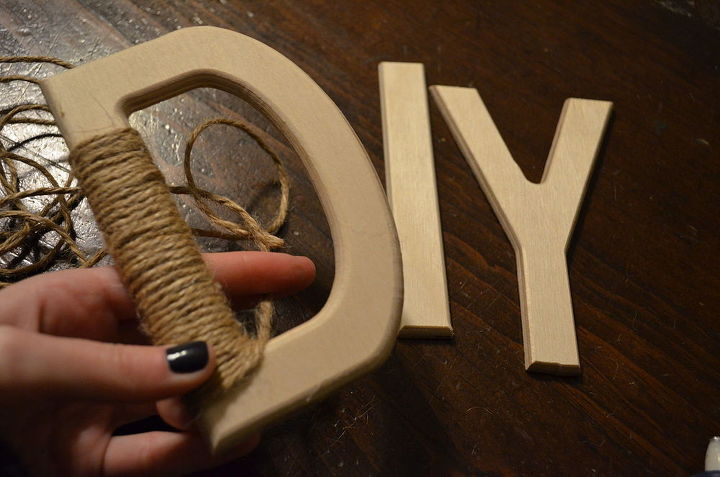 When wrapping letters with turns and gaps, cut the twine loose from the roll to make manipulating the shape easier!