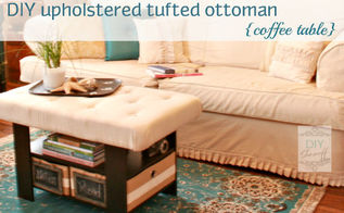 upholstering tufting a coffee table turned ottoman, painted furniture, reupholster, DIY means choosing a fabric that works with the room and existing decor