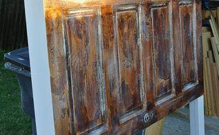 custom finish applied to this vintage door queen headboard, bedroom ideas, doors, painted furniture, repurposing upcycling