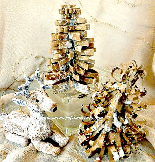 Toilet paper Christmas tress made from empty rolls