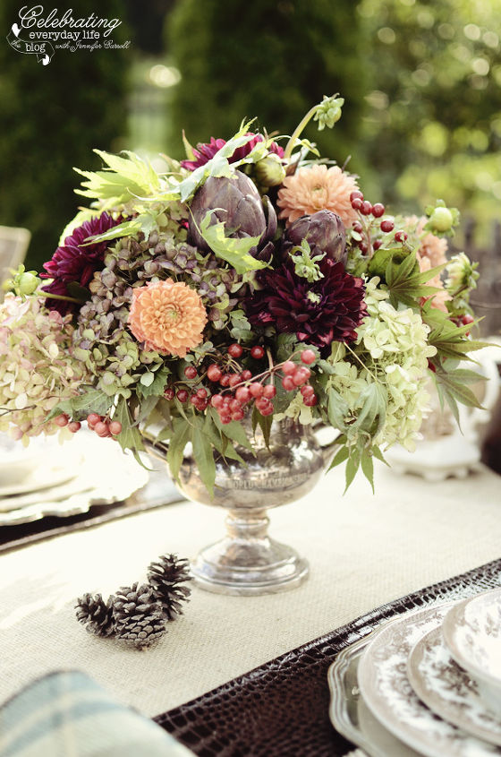 Ralph Lauren inspired outdoor dinner for two, autumn flower arrangement