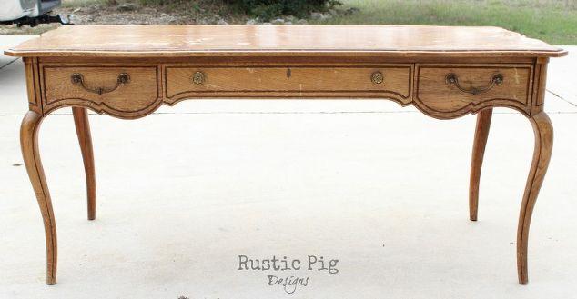 antique french desk makeover, painted furniture, rustic furniture, The  before shot - Antique French Desk Makeover Hometalk