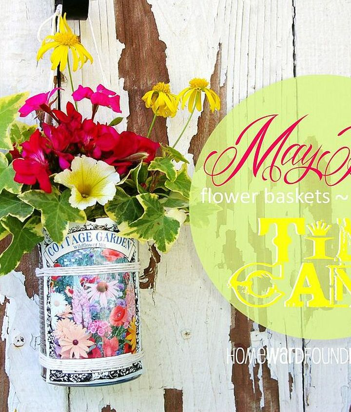 Find my tutorial at http://homewardfounddecor.blogspot.com/2013/05/tutorial-may-day-tin-can-flower-baskets.html