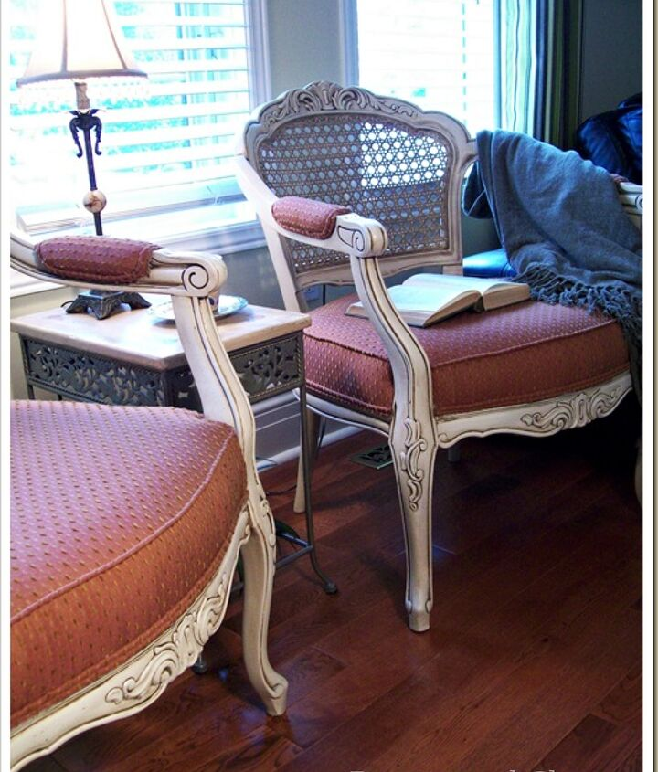 The pair of chairs are light and fresh without the need of new fabric