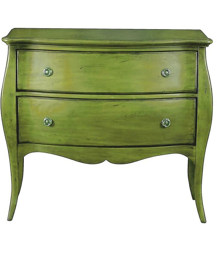 Paint w/ glaze, minor distressing just enough to accentuate the piece. To me this looks great (image from frenchcommode.com)
