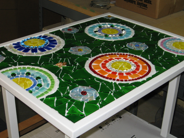 stained glass mosaic patio table, painted furniture, tiling, Finished and ready to grout