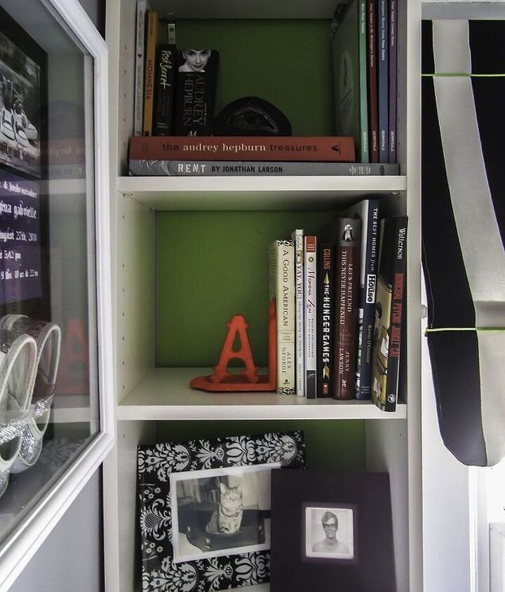 Bookcase styling on the left.
