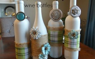 embellished upcycled wine bottles, crafts, repurposing upcycling